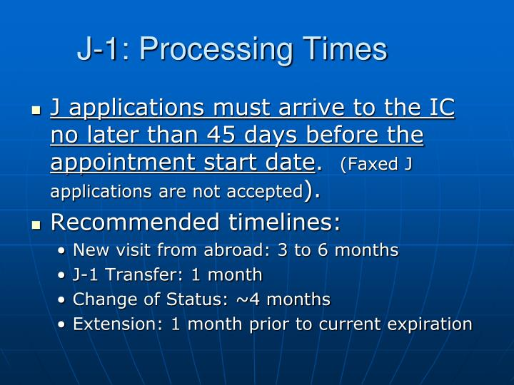 J-1: Processing Times