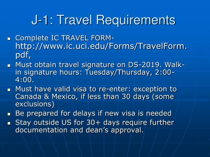 J-1: Travel Requirements