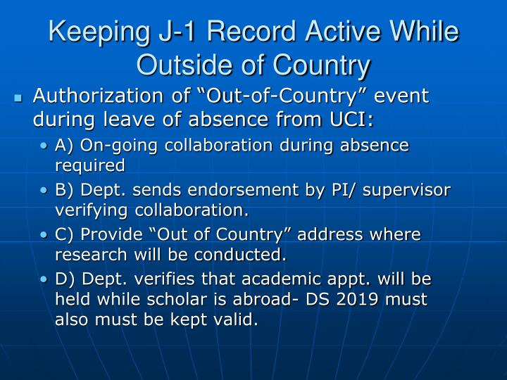 Keeping J-1 Record Active While Outside of Country