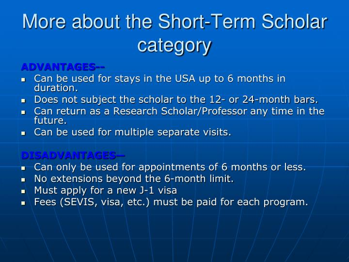 More about the Short-Term Scholar category