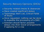 security advisory opinions saos