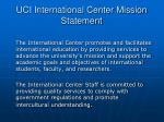 uci international center mission statement