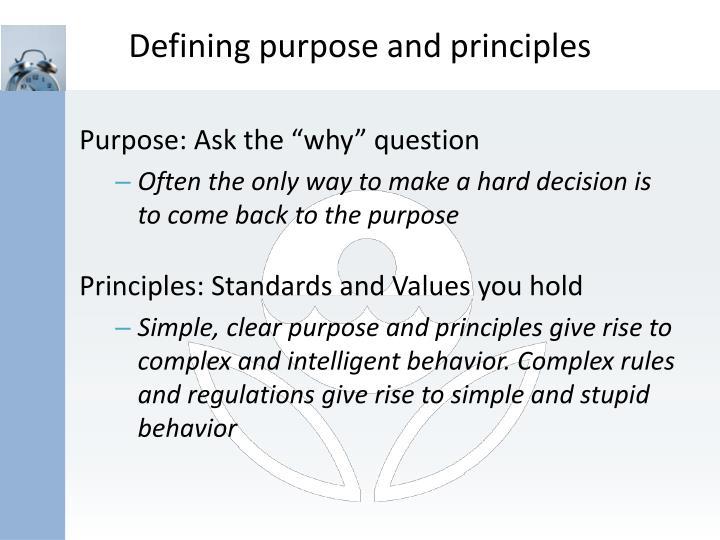 Defining purpose and principles