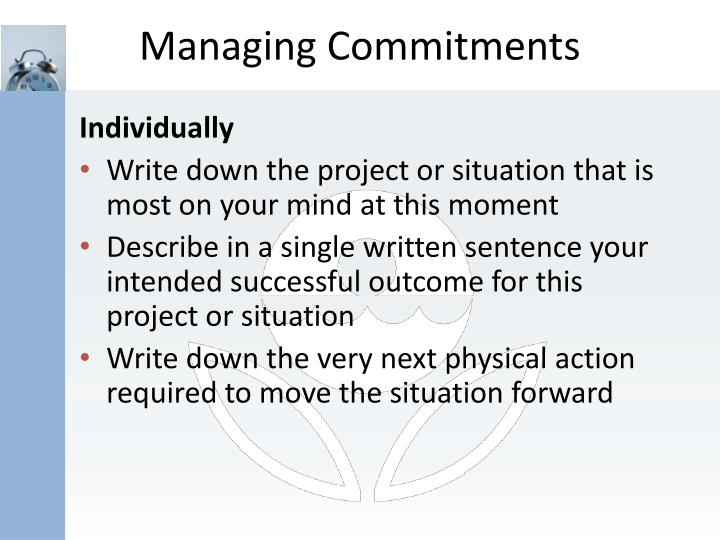 Managing Commitments