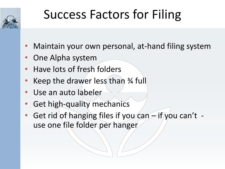 Success Factors for Filing