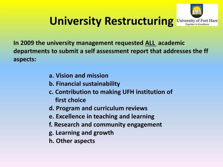 University Restructuring