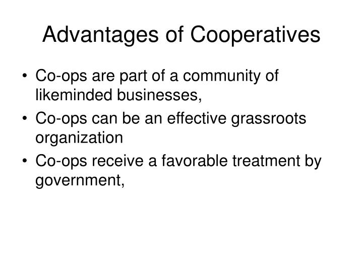 Advantages of Cooperatives