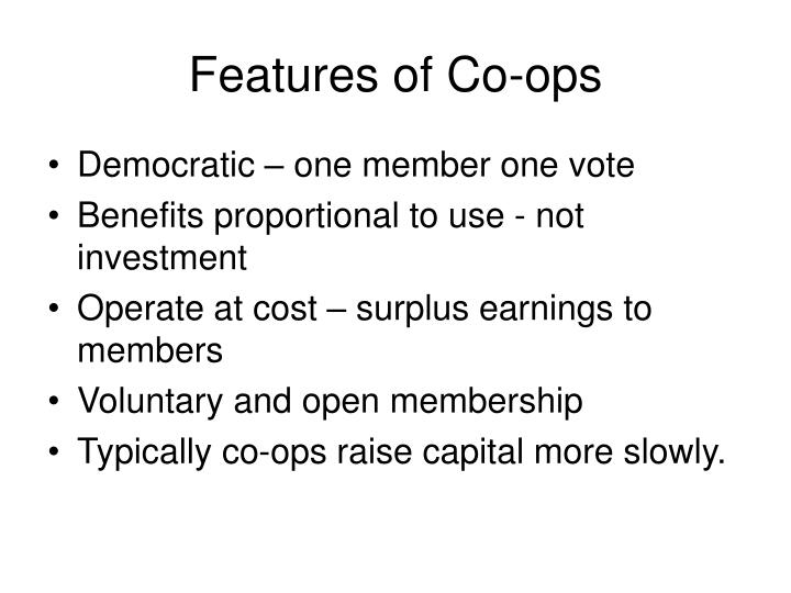 Features of Co-ops