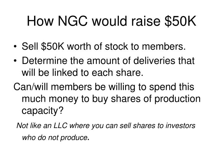 How NGC would raise $50K