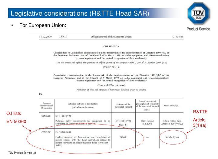Legislative considerations (R&TTE Head SAR)