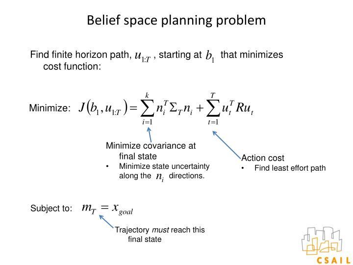 Belief space planning problem