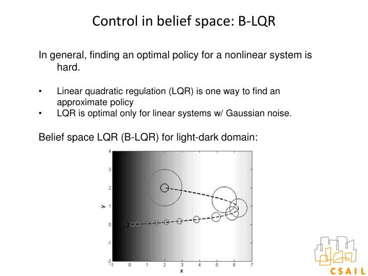 Control in belief space: B-LQR
