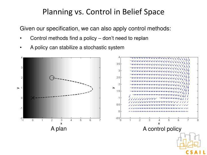 Planning vs. Control in Belief Space