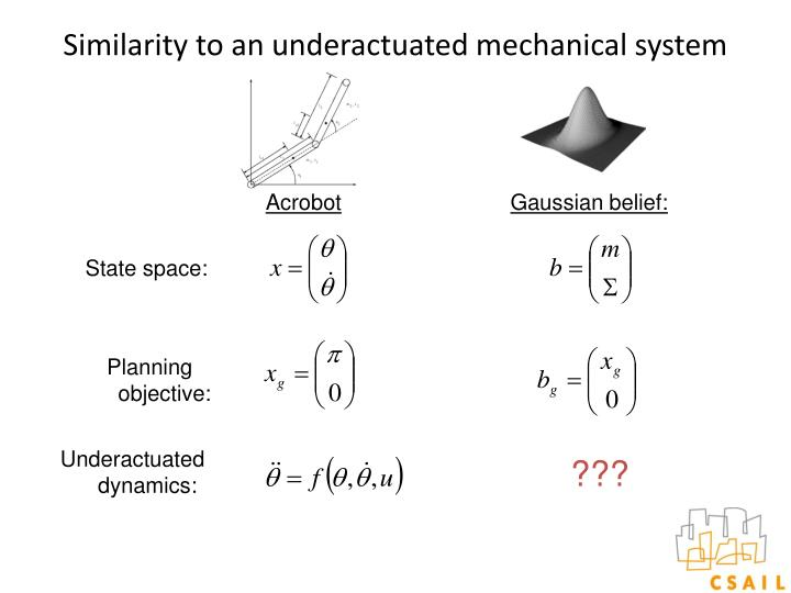 Similarity to an underactuated mechanical system