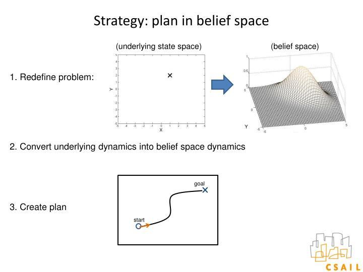 Strategy: plan in belief space