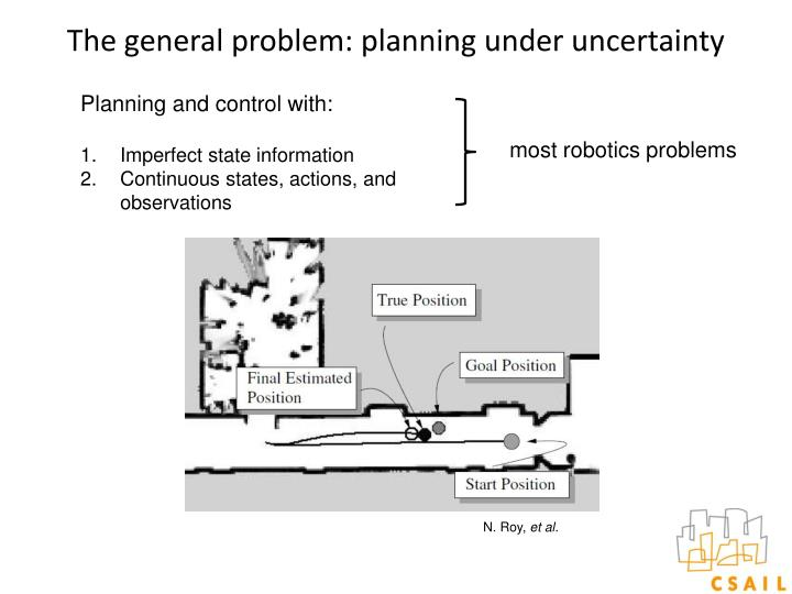 The general problem: planning under uncertainty