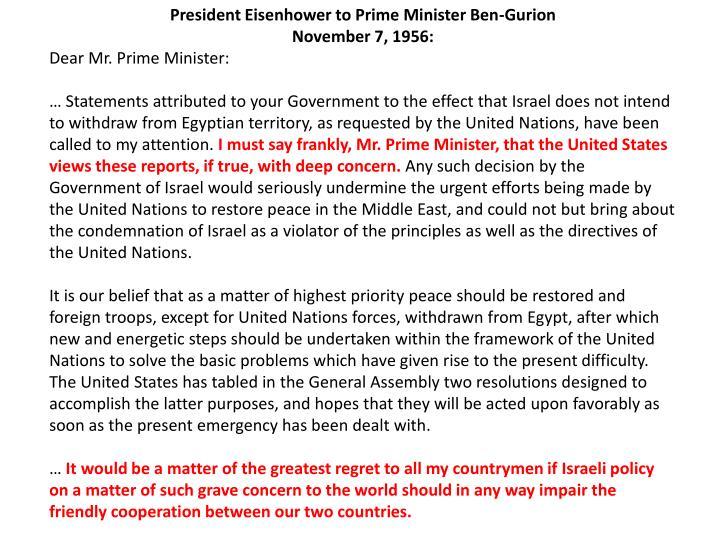 President Eisenhower to Prime Minister Ben-Gurion