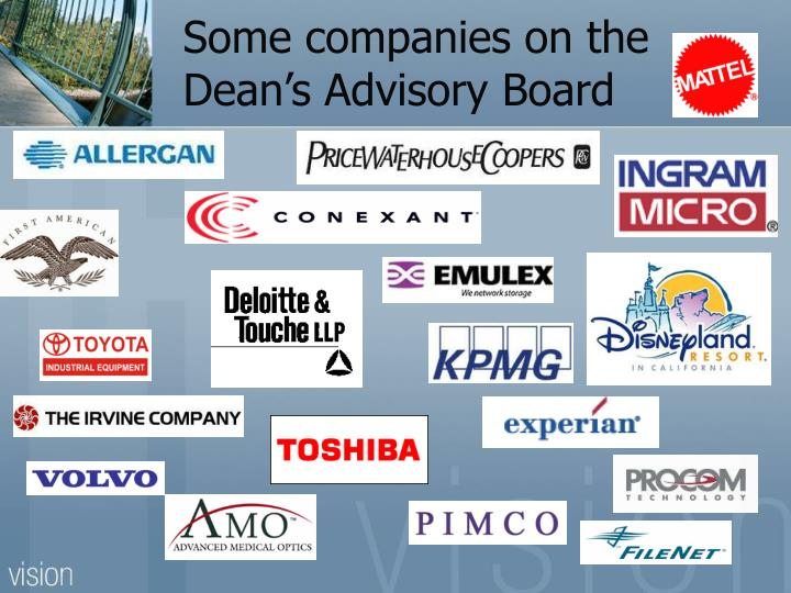 Some companies on the