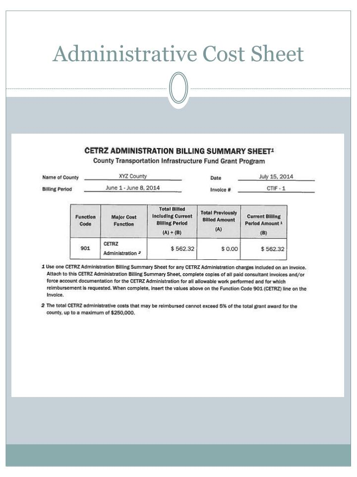 Administrative Cost Sheet