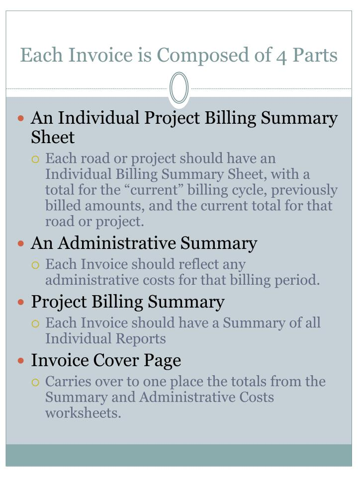 Each Invoice is Composed of 4 Parts