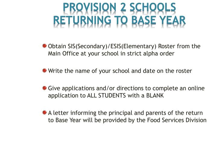 Provision 2 Schools RETURNING TO BASE YEAR