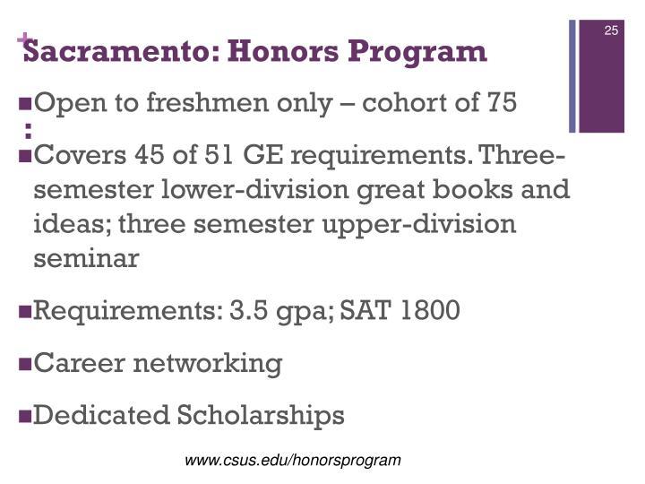 Sacramento: Honors Program