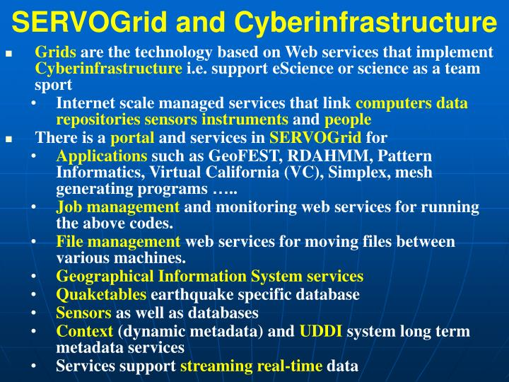 SERVOGrid and Cyberinfrastructure