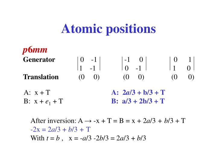 Atomic positions