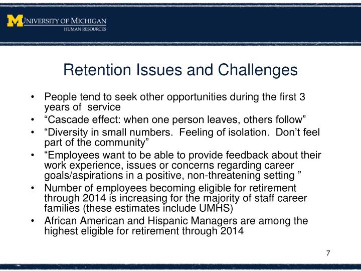 Retention Issues and Challenges