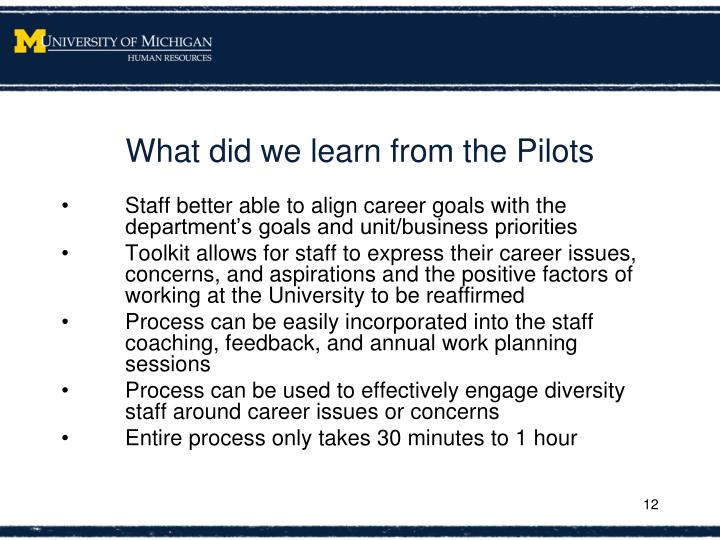 What did we learn from the Pilots