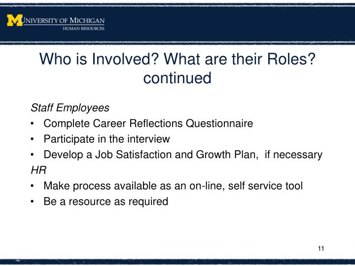 Who is Involved? What are their Roles?  continued