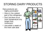 storing dairy products