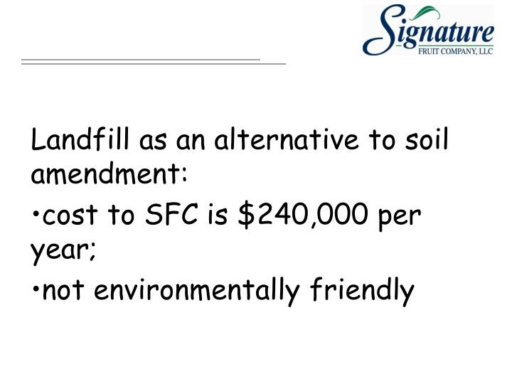 Landfill as an alternative to soil amendment: