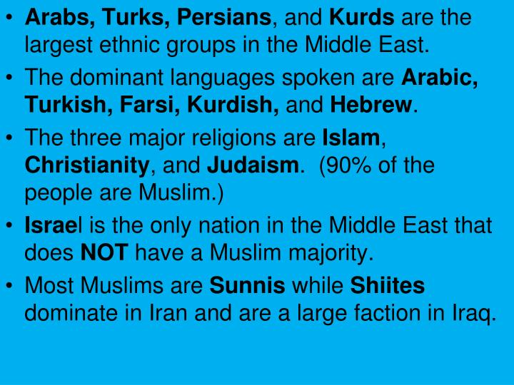 Arabs, Turks, Persians