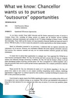 what we know chancellor wants us to pursue outsource opportunities