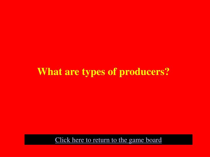 What are types of producers?