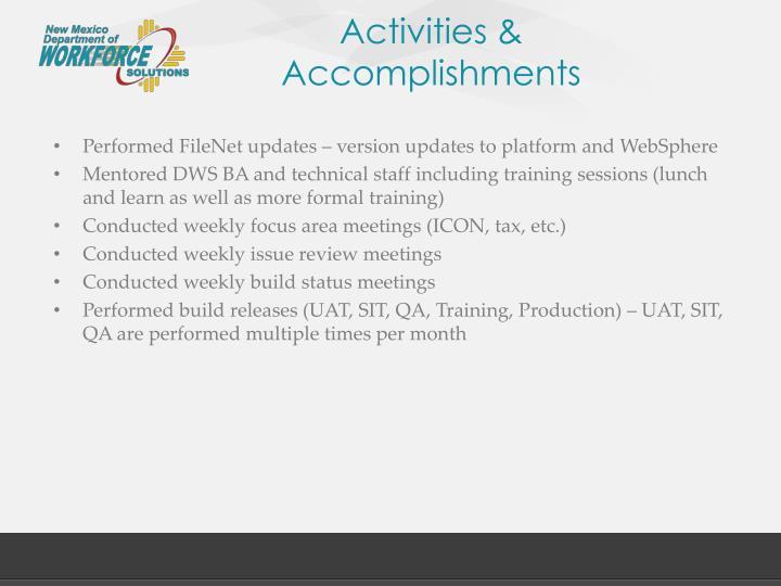Activities &