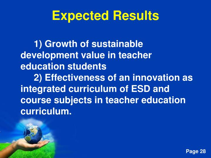 1) Growth of sustainable development value in teacher education students