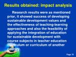 results obtained impact analysis