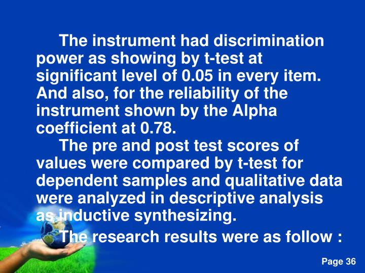 The instrument had discrimination power as showing by t-test at significant level of 0.05 in every item. And also, for the reliability of the instrument shown by the Alpha coefficient at 0.78.