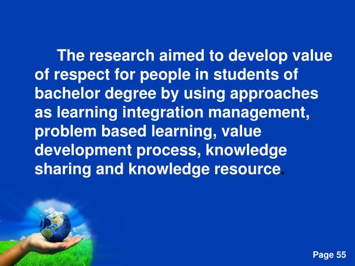 The research aimed to develop value of respect for people in students of bachelor degree by using approaches as learning integration management, problem based learning, value development process, knowledge sharing and knowledge resource