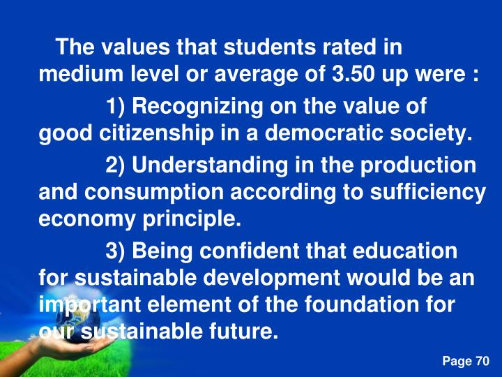The values that students rated in medium level or average of 3.50 up were :