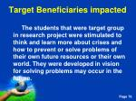 target beneficiaries impacted
