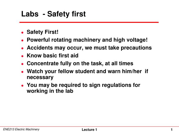Labs safety first