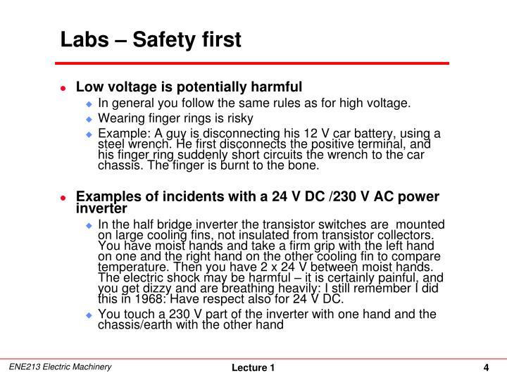 Labs – Safety first