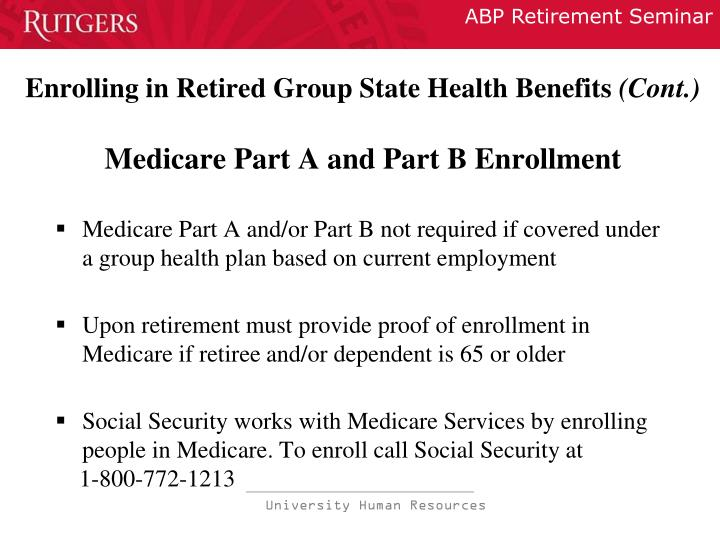 Enrolling in Retired Group State Health