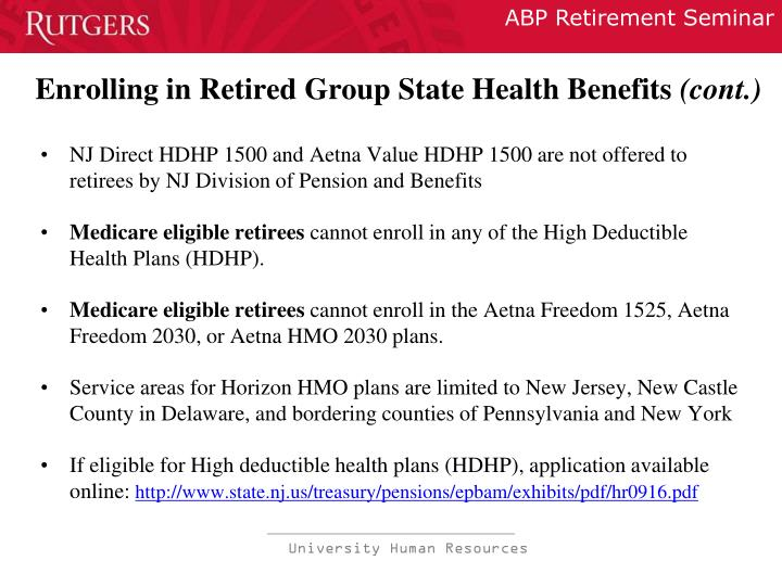 Enrolling in Retired Group State Health Benefits
