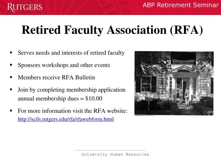 Retired Faculty Association (RFA)