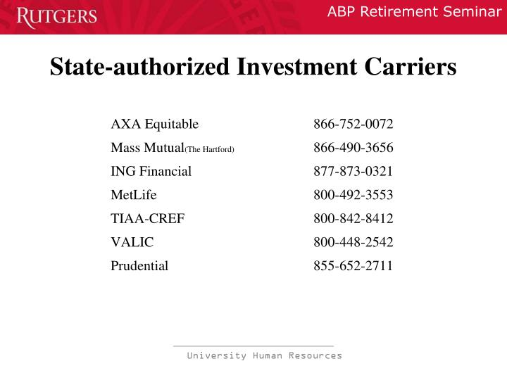 State-authorized Investment Carriers