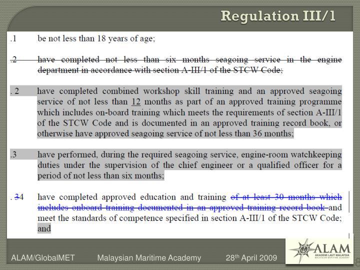 Regulation III/1